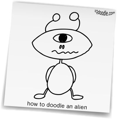 how to doodle alien small