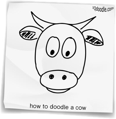 how to doodle cow small