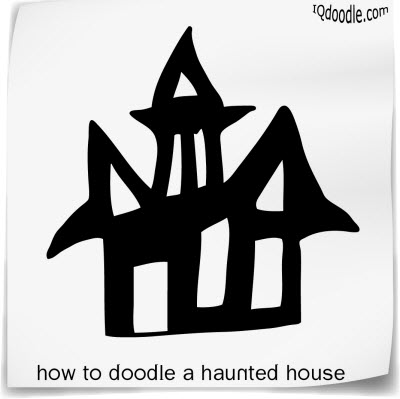 how to doodle haunted house small
