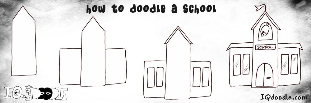 how to doodle school building