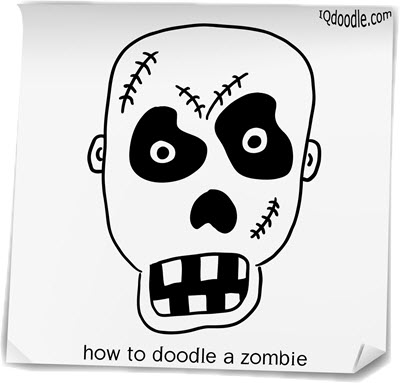 how to doodle zombie small