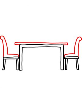 How to Doodle Dining Table and Chairs 03