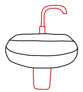 How to Doodle Hairdryer Sink and Tap in a Bathroom 03