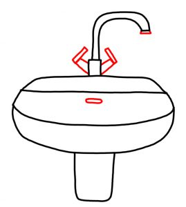 How to Doodle Sink and Tap in a Bathroom