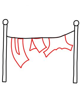 How to Doodle Home Clothes Hanging on Clothesline 03