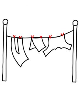 How to Doodle a Clothes Hanging on Clothesline