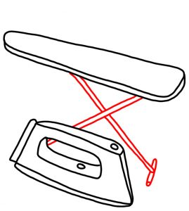 How to Doodle an Iron and Ironing Board