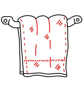 How to Doodle a Towel hanging on a rack