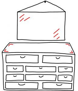 how to doodle a dresser with a mirror
