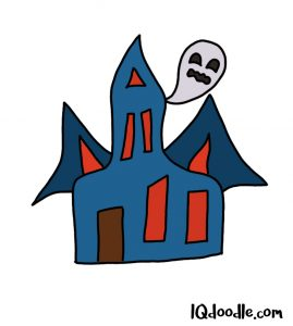 how to doodle a haunted house